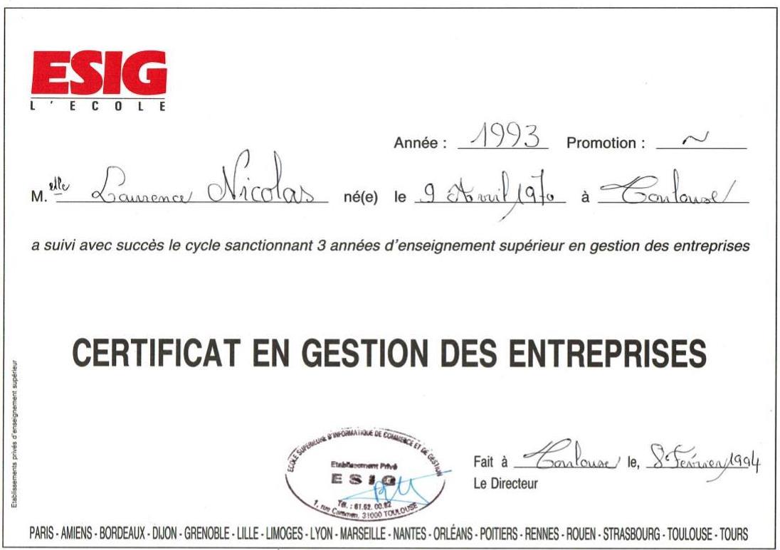 1993 certificat gestion entreprises